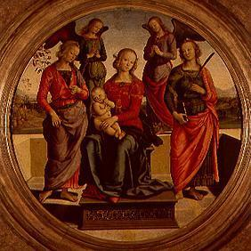 Madonna surrounded of angels and saints sitting en