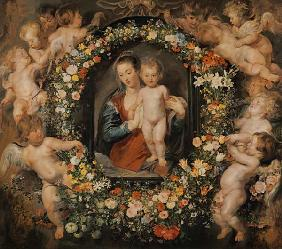 The Madonna in the floral wreath. The floral wreat