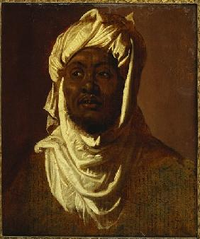 An African Wearing a Turban - a Sketch (oil on paper laid down on panel)