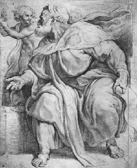 The Prophet Ezekiel, after Michangelo Buonarroti (pierre noire & red chalk on paper)