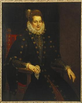 Portrait of a lady seated three-quarter length in a black dress with a ruff