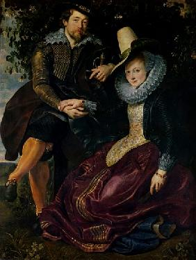 Self portrait with Isabella Brandt, his first wife, in the honeysuckle bower, c.1609