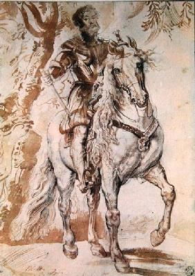 Study for an equestrian portrait of the Duke of Lerma (1553-1625) 1603 (pen & ink on paper)