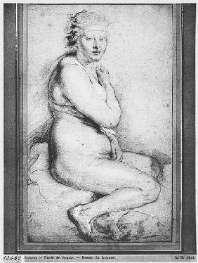 Young nude woman, seated, turned to the right (pierre noire, red chalk, white highlights & brown was