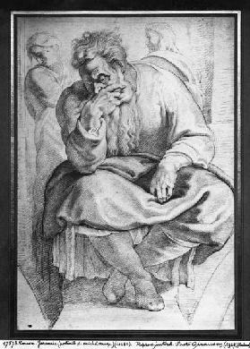 The Prophet Jeremiah, after Michangelo Buonarroti (pierre noire & red chalk on paper)