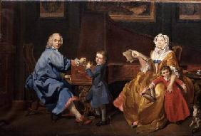 Burckhardt Tschudi with his wife and two children
