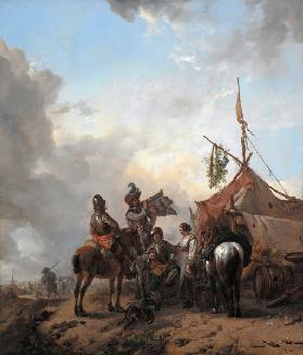 Soldiers carousing with a serving woman outside a tent