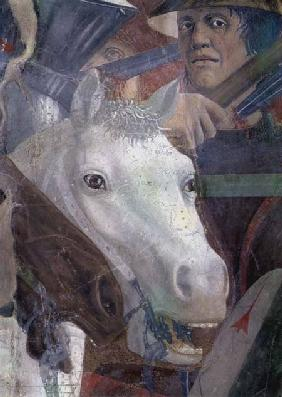 The Legend of the True Cross, the Battle of Heraclius and Chosroes, detail of a horse and a soldier