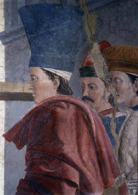 The Legend of the True Cross, the Verification of the True Cross, detail of three male attendants