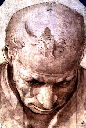 Head of an Elderly Man (pen, brown