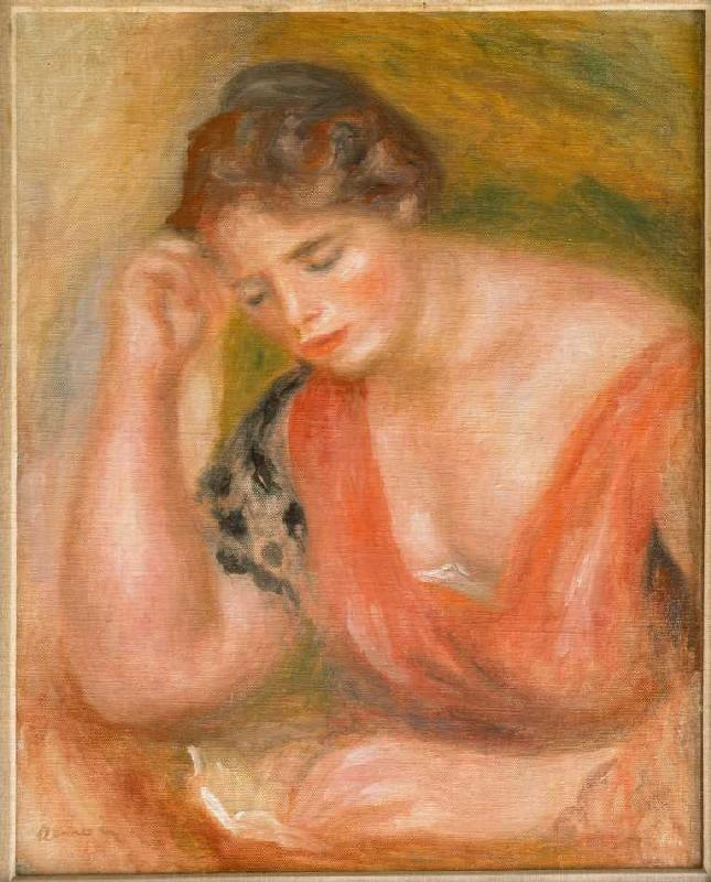 reading young woman in red dress pierre auguste renoir. Black Bedroom Furniture Sets. Home Design Ideas