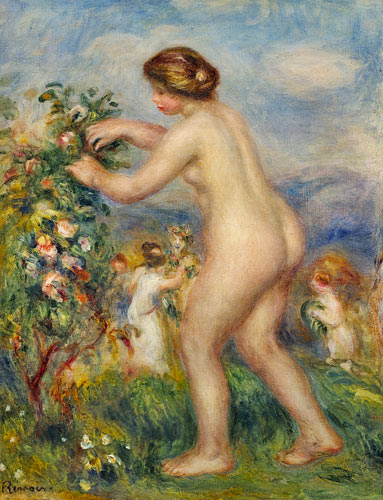 Pierre-Auguste Renoir - Naked young woman in landscape.