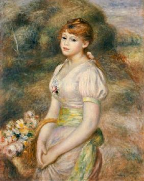 Young Girl With A Basket Of Flowers