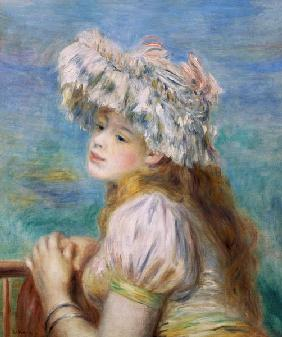 Portrait of a young woman in a lace hat