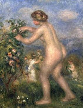 Female nude picking flowers