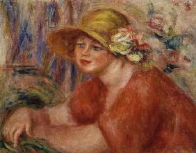Portrait of a woman in a hat decorated with flowers