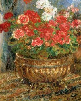 Still life with geraniums in a bronze bowl