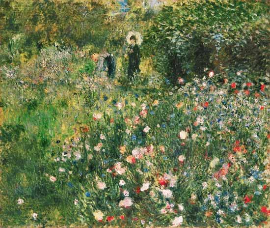 Mujer con parasol en el jardín