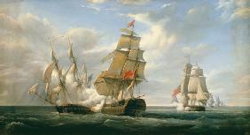 Combat between the French Frigate 'La Canonniere' and the English Vessel 'The Tremendous', 21st Apri