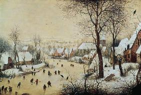 Winter Landscape with Skaters and a Bird Trap