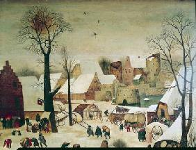 The Census at Bethlehem, detail of the houses and fortifications