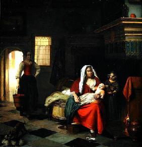 An interior with a Mother and her Children (oil on canvas)