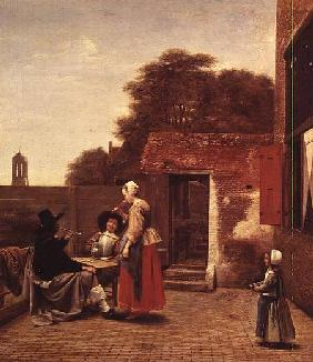 de Hooch Pieter - Two Soldiers and a Woman Drinking in a Courtyard