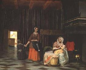 Woman with infant, serving maid with child