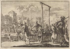 Arrival of Stepan Razin and his brother Frol in an iron cage in Moscow, 1671
