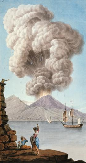 Eruption of Vesuvius, Monday 9th August 1779, plate 3, published as a supplement to 'Campi Phlegraei