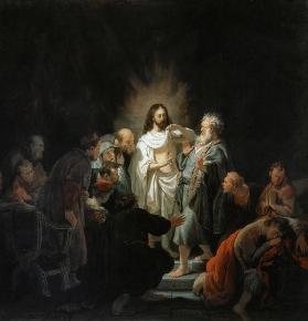 Jesus risen from the dead shows the apostle Thomas