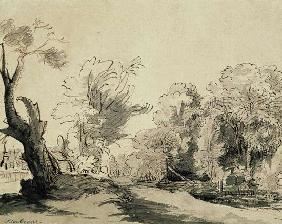 Landscape with a path, an almost dead tree on the left and a footbridge leading to a farm on the rig