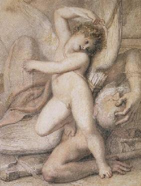 Cupid Plucking the Wings of Time (pencil, red chalk and w/c on