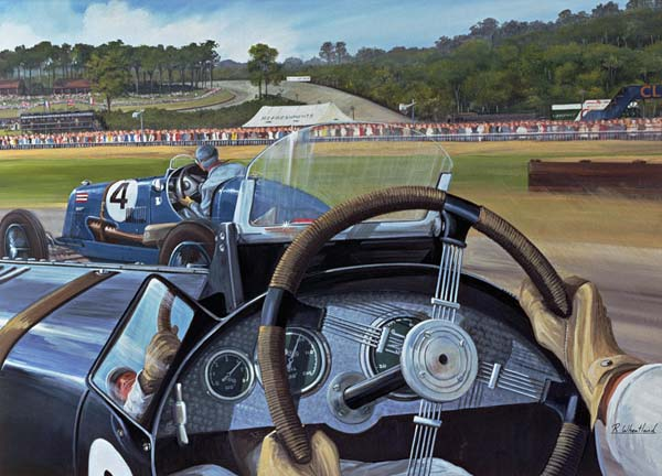 Brooklands - From the Hot Seat (w/c and gouache on paper)