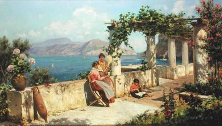 Robert Alott - Figures on a Terrace in Capri