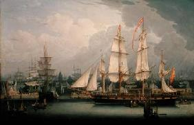 Four-Masted Clipper Ship in Liverpool Harbour