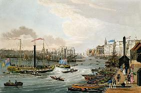 A View of London Bridge and the Custom House, with the Margate Steam Yachts, pub. 1820 Colnaghi & Co