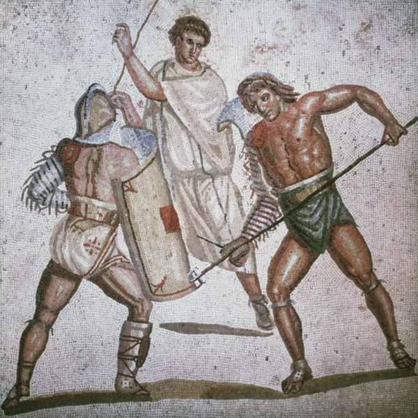 Two fighting gladiators and an arbitrator mosaic