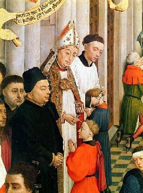 The Seven Sacraments Altarpiece, detail of Jean Chevrot (1400-60) Bishop of Tournai confirming a boy