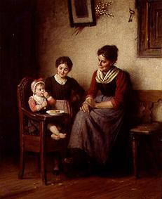 Mother with two children in the farmhouse parlour