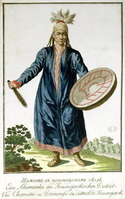 A Shaman from Krasnoiarsk, 18th century (coloured engraving)
