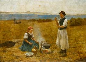 Hungarian smallholder couple when preparing the Ho