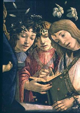 Madonna and child with the young St. John the Baptist and angels: detail showing three angels