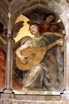 Musical angel within a trompe l'oeil cloister, detail of an angel playing a mandolin, from the inter