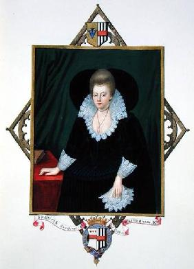 Portrait of Frances Walsingham, Countess of Essex from 'Memoirs of the Court of Queen Elizabeth' aft