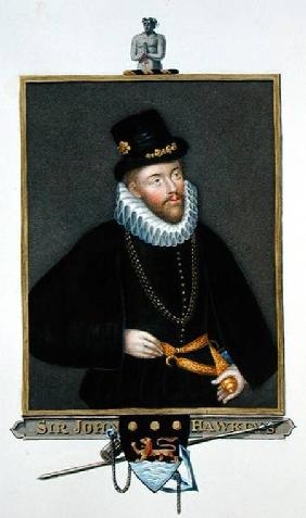 Portrait of Sir John Hawkins (1532-95) from 'Memoirs of the Court of Queen Elizabeth' after a triple
