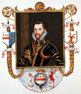 Portrait of Walter Devereux (1541-76) 1st Earl of Essex from 'Memoirs of the court of Queen Elizabet