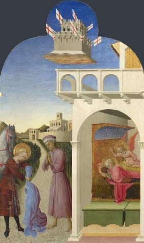 Saint Francis and the Poor Knight, and Francis's Vision (From Borgo del Santo Sepolcro Altarpiece)