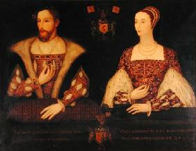 Copy of the original double portrait of Mary of Guise (1515-60) and King James V (1512-42) commissio