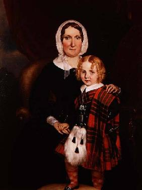 Portrait of a Scottish Woman with her Young Son in Highland Dress